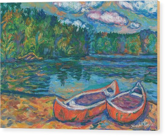 Canoes At Mountain Lake Sketch Wood Print