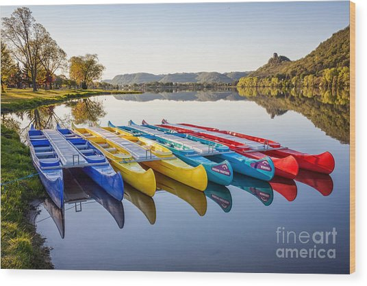 Wood Print featuring the photograph Canoes Color 2x3 by Kari Yearous