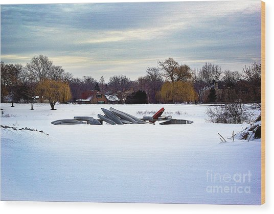 Canoes In The Snow Wood Print