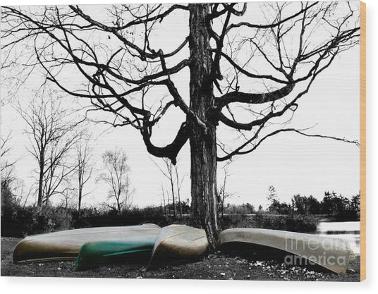 Canoes In Winter Wood Print