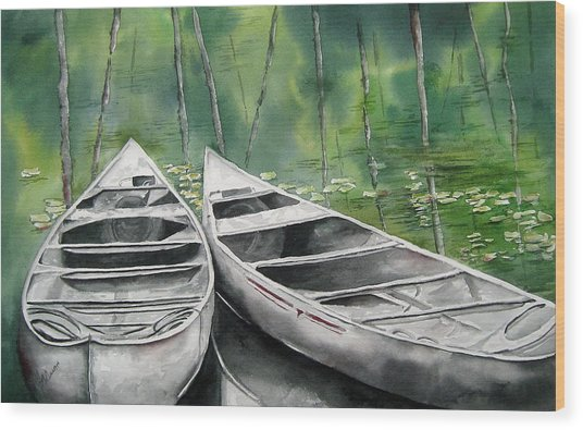 Canoes To Go Wood Print