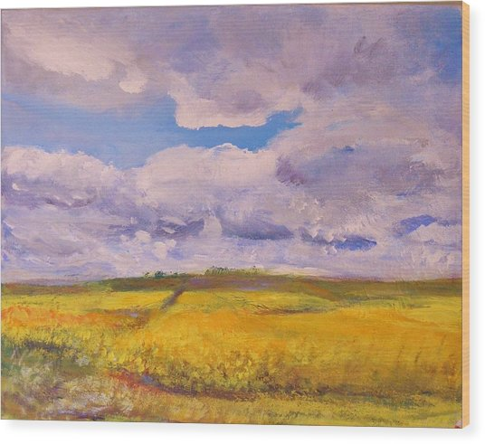 Canola And Clouds Wood Print