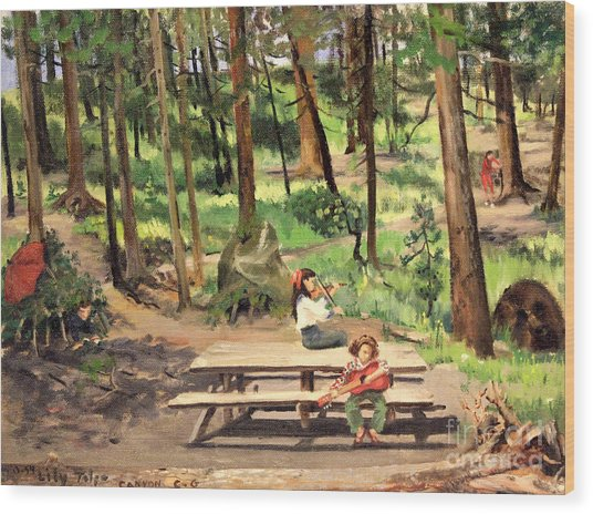 Canyon Campground - Yellowstone  1950's Wood Print