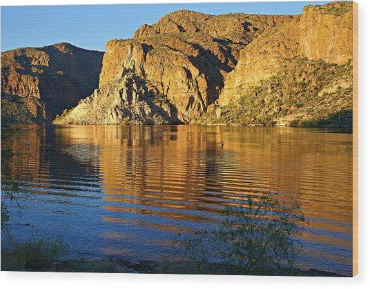 Canyon Lake Reflections Wood Print
