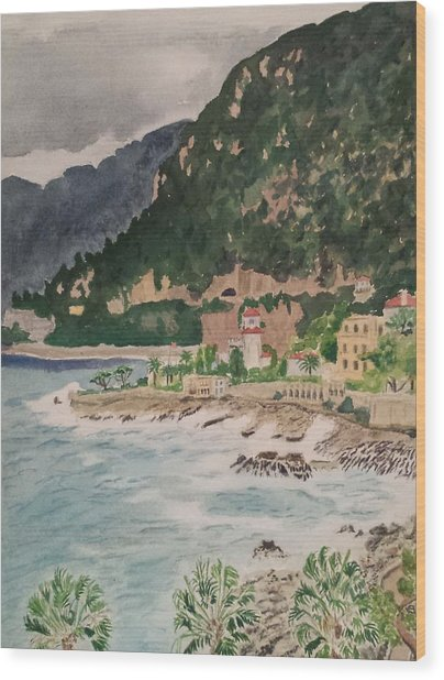 Cap D'ail During The Storm Wood Print