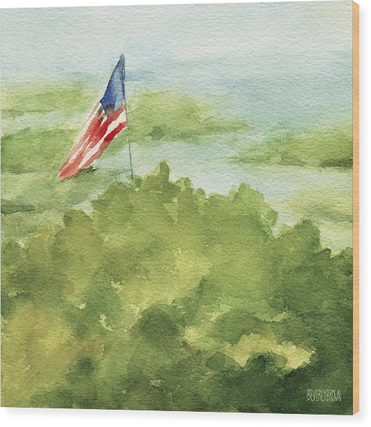 Cape Cod Beach With American Flag Painting Wood Print