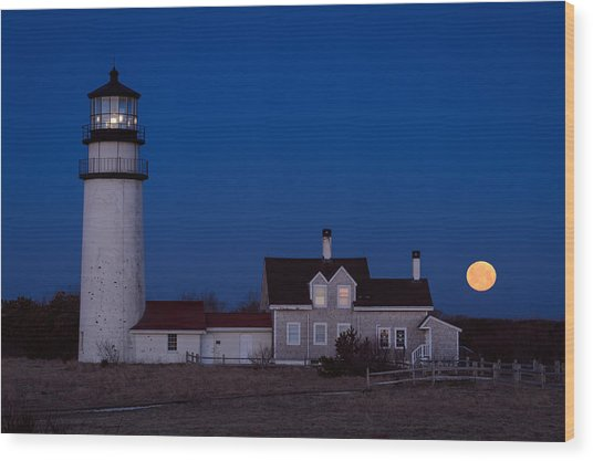 Cape Cod Moonset Wood Print