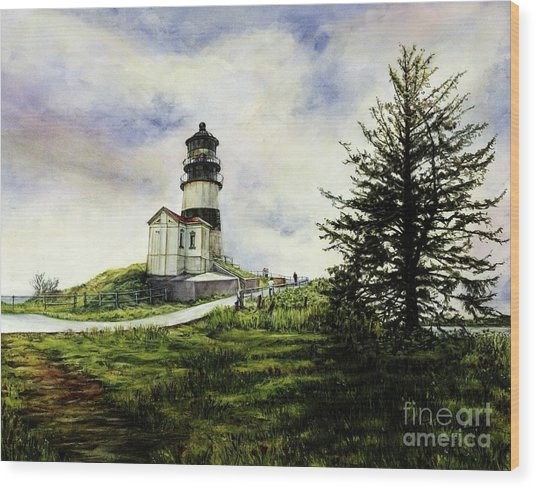 Cape Disappointment Lighthouse On The Washington Coast Wood Print