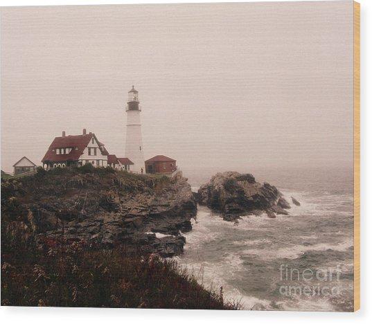 Cape Elizabeth In The Mist Wood Print