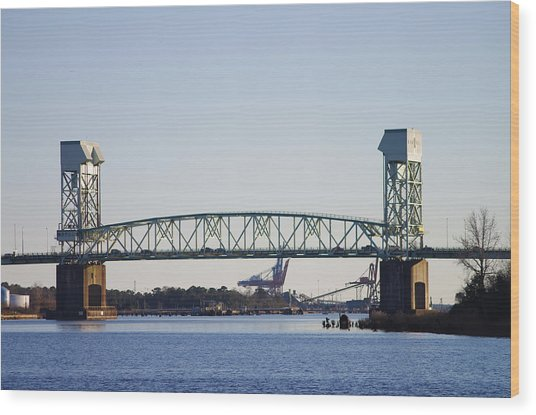 Cape Fear Memorial Bridge Wood Print