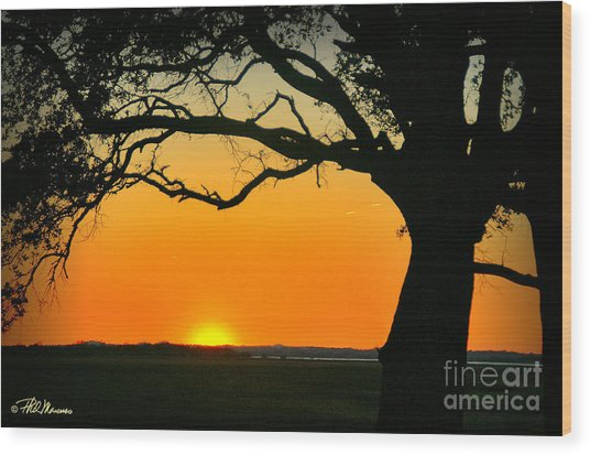 Cape Fear Sunset 2 Wood Print