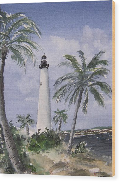 Cape Florida Light Wood Print by Stephanie Sodel