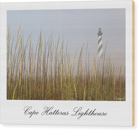Cape Hatteras Lighthouse In The Fog Wood Print