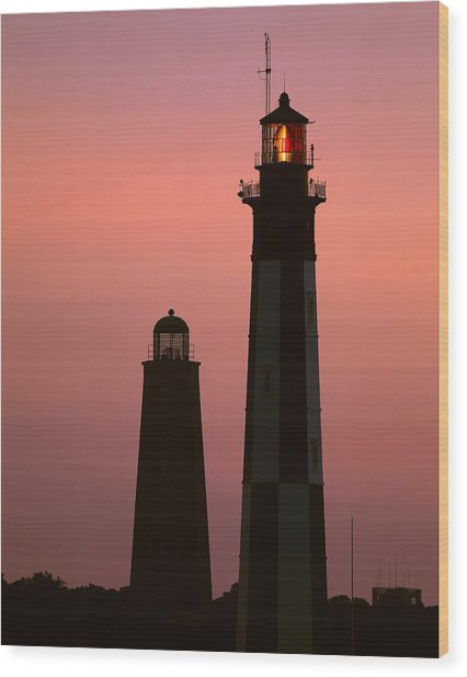 Cape Henry Lighthouses  Wood Print