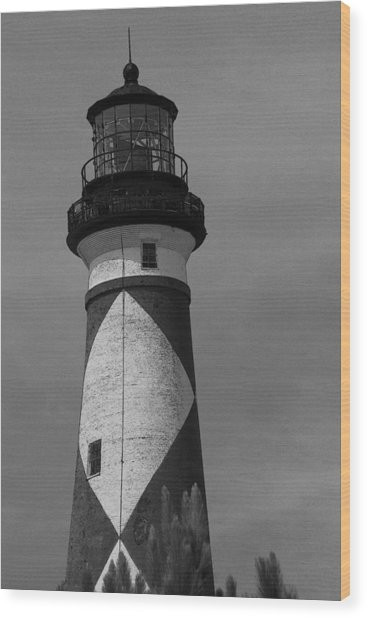 Cape Lookout Light Black And White 2  Wood Print