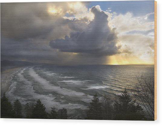 Sunset At Cape Lookout Oregon Coast Wood Print