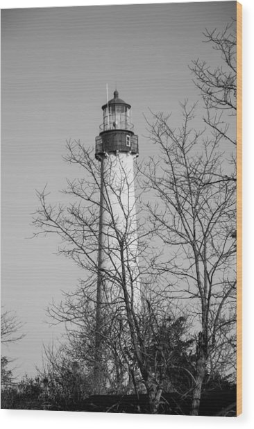 Wood Print featuring the photograph Cape May Light B/w by Jennifer Ancker