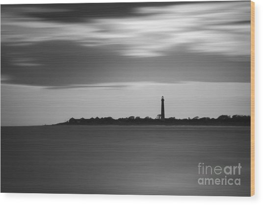 Cape May Lighthouse Long Exposure Bw Wood Print