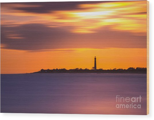 Cape May Lighthouse Long Exposure Wood Print