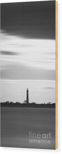 Cape May Lighthouse Narrow Long Exposure Bw Wood Print