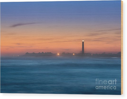 Cape May Lighthouse Sunset Wood Print