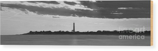 Cape May Lighthouse Sunset Panorama Bw Wood Print