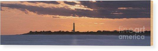 Cape May Lighthouse Sunset Panorama Wood Print