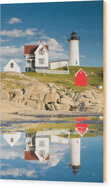 Cape Neddick Light  Reflections Wood Print