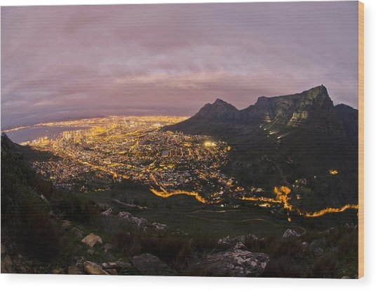 Cape Town Nights Wood Print by Aaron Bedell