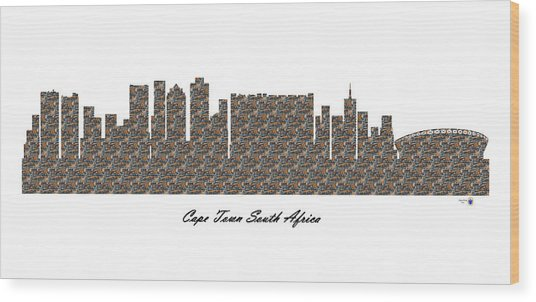 Cape Town South Africa 3d Stone Wall Skyline Wood Print