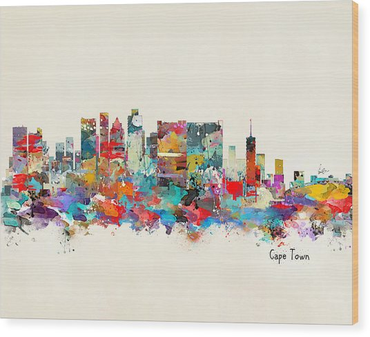 Cape Town South Africa Skyline Wood Print