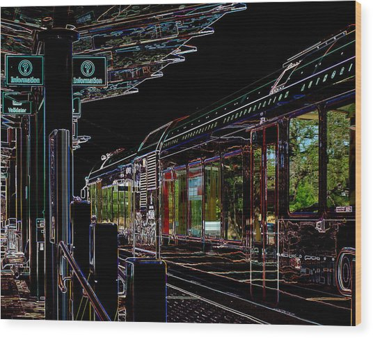 Capital Metro Rail In Neon Wood Print