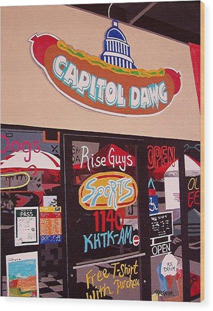 Capitol Dawg Wood Print by Paul Guyer