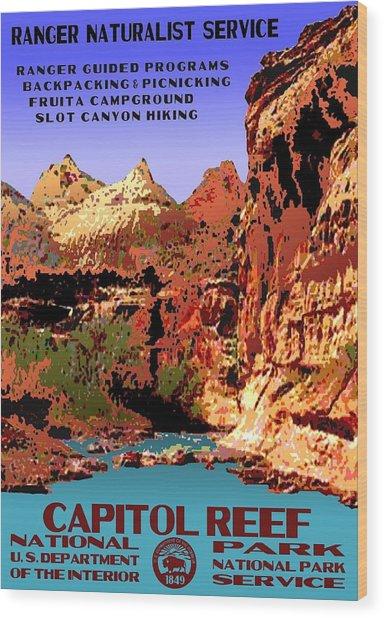 Capitol Reef National Park Vintage Poster Wood Print