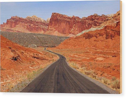 Capitol Reef Road Vii Wood Print