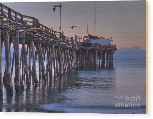 Capitola Wharf At Dusk Wood Print