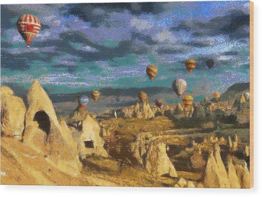 Cappadocia Ballons Fiesta Wood Print