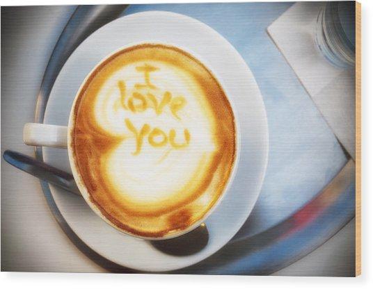 Cappuccino Wood Print