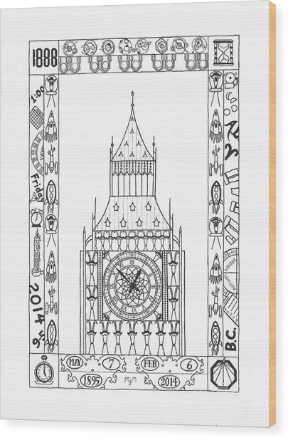 Wood Print featuring the drawing Capricious Time by Mary J Winters-Meyer