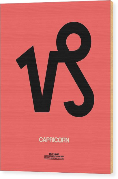 Capricorn Zodiac Sign Black Wood Print