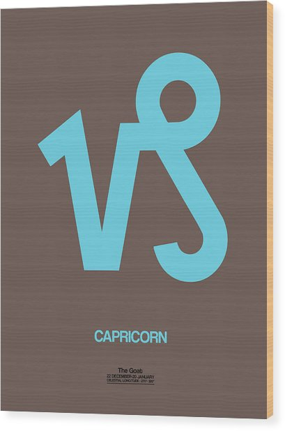 Capricorn Zodiac Sign Blue Wood Print