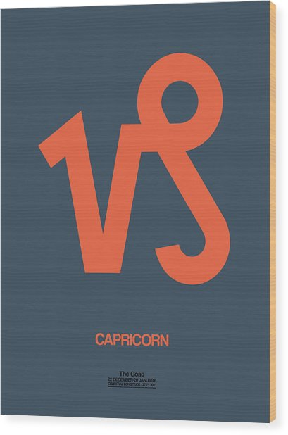 Capricorn Zodiac Sign Orange Wood Print
