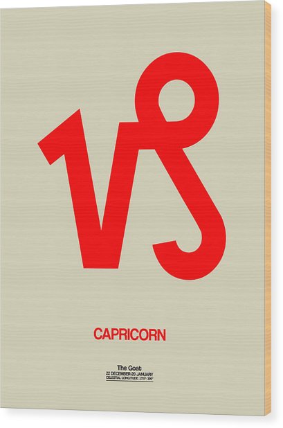Capricorn Zodiac Sign Red Wood Print