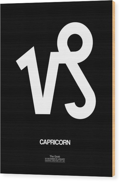 Capricorn Zodiac Sign White Wood Print