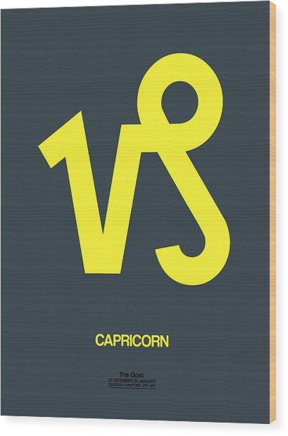 Capricorn Zodiac Sign Yellow Wood Print