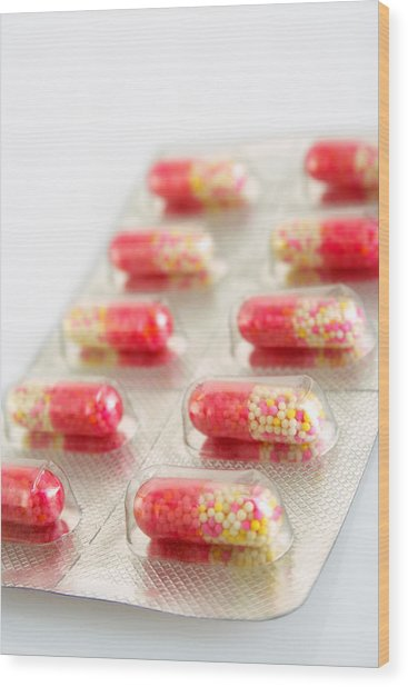 Capsules In Blister Pack Wood Print by Visage