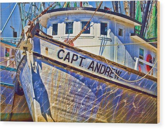 Capt Andrew Shrimper Wood Print