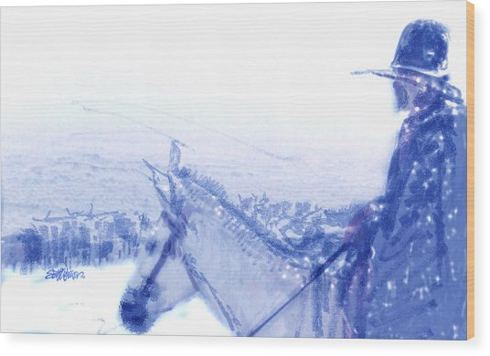 Capt. Call In A Snow Storm Wood Print