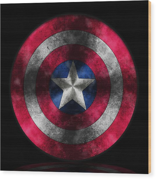 Captain America Shield Wood Print