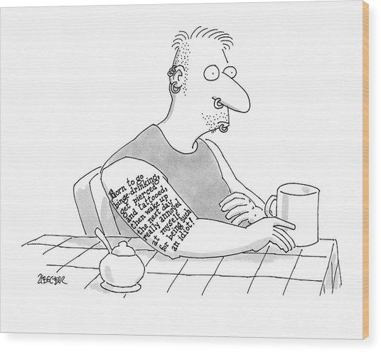 Captionless: Long Tattoo On Arm Of Man Drinking Wood Print
